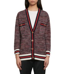 women's sandro dyna oversize tweed cardigan, size 4 - red