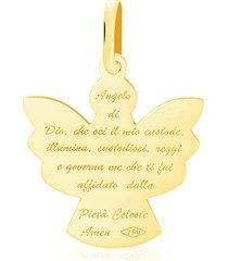 ciondolo angelo preghiera in oro giallo per unisex