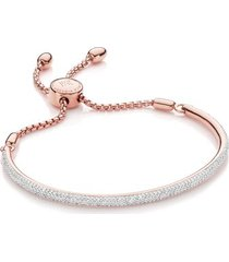 fiji pave bar petite bracelet - diamond, rose gold vermeil on silver