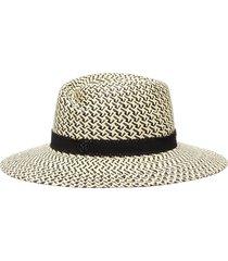 'virginie' houndstooth straw fedora hat