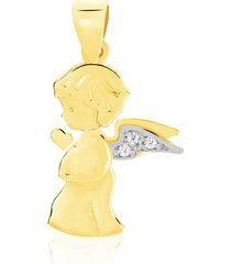 ciondolo angelo in oro bicolore e zirconi per unisex