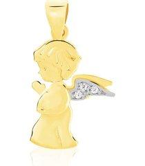 ciondolo angelo in oro bicolore e zirconi per donna