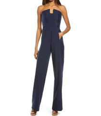 black halo lena strapless jumpsuit, size 10 in navy/navy at nordstrom