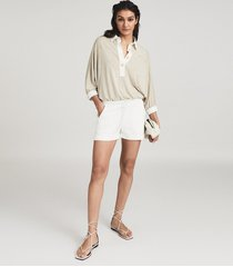 reiss annie - loungewear jersey shorts in white, womens, size xl