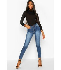 high rise stretch skinny jeans, mid blue