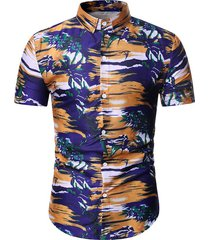 hawaii beach glow plant print shirt