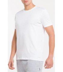 kit2 camiseta gola careca cotton peruano - branco - m