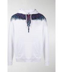 marcelo burlon county of milan feather-print hooded sweatshirt