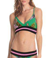 women's maaji grass green reversible bikini top, size small - green