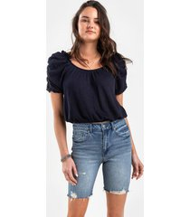 mela distressed bermuda denim shorts - medium wash