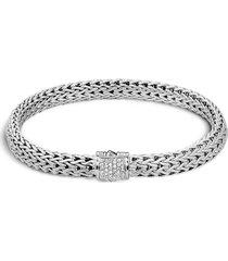 diamond silver small woven chain bracelet