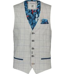 a fish named fred 20.01.142 gilet grey windowpane light grey - grijs