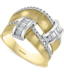 effy diamond two-row satin finish statement ring (3/4 ct. t.w.) in 14k gold & white gold