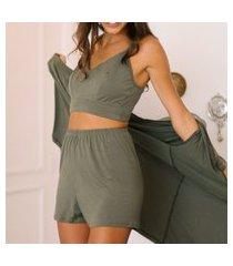 conjunto top pijama + karícia íntima + verde major