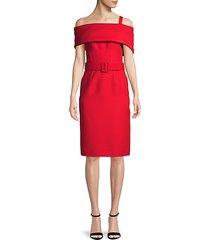 wool & silk cold-shoulder dress