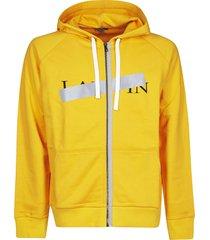lanvin taped logo print hoodie
