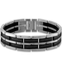 "men's 1 carat black diamond 8 1/2"" bracelet in stainless steel and black ion plating"