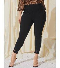 yoins plus talla negro con abertura en dobladillo pantalones