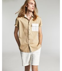 inc men's regular-fit colorblocked utility shirt, created for macy's