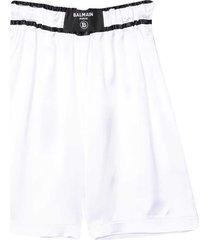 balmain white bermuda shorts