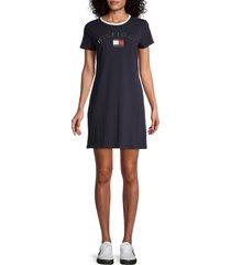 tommy hilfiger women's logo knit shift dress - navy - size l