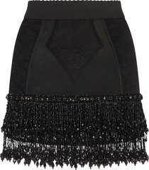 dolce & gabbana beaded jacquard mini skirt - black