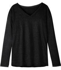 luchtig linnen-jersey shirt met v-hals, zwart 36/38