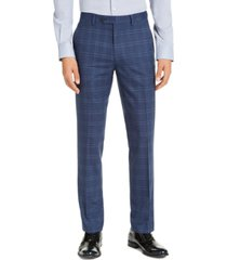 alfani men's slim-fit stretch navy blue plaid suit pants, created for macy's