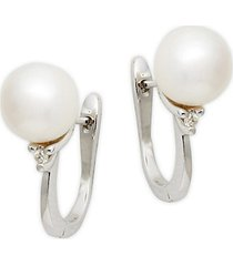 14k white gold, white akoya pearl & diamond earrings