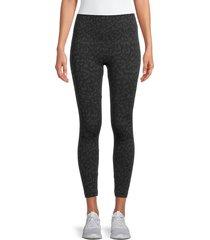 bagatelle women's leopard-print leggings - charcoal - size m