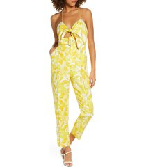 women's significant other rockpool floral tie front linen blend jumpsuit