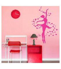 adesivo de parede quartinhos bailarina rosa