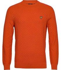 checkerboard knit crew neck jumper gebreide trui met ronde kraag oranje lyle & scott