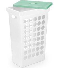 cesto de roupa arthi quadrado com tampa branco 43l unica