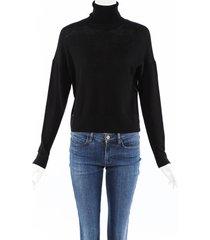 altuzarra 2019 wool knit embellished turtleneck sweater black sz: m