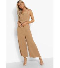 tall linnen look culotte jumpsuit met bandjes, camel