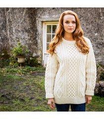 women's buncrana handknit aran sweater cream l