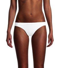 l*space by monica wise women's charlie ribbed bikini bottom - white - size xs