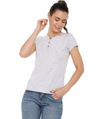 camiseta con botones de mujer licrada-gris jaspe polovers
