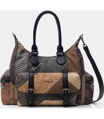 patchwork briefcase bag - brown - u