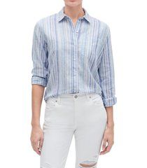 blusa lino blend azul gap