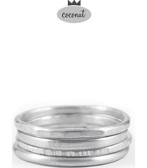 pierścionek texture - 4 obrączki srebro t3