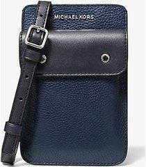 mk borsa a tracolla in pelle martellata bicolore - navy (blu) - michael kors