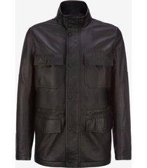 leather car coat black 50