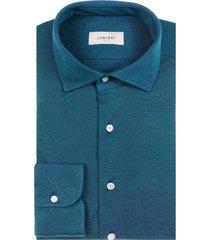 camicia da uomo su misura, maglificio maggia, petrolio piquet cotone, quattro stagioni | lanieri