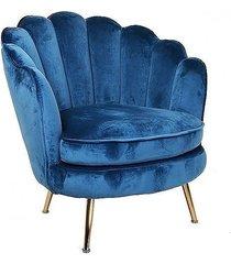 fotel welwetowy alma na złotych nóżkach blue