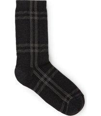 check plaid print monochromatic socks charcoal