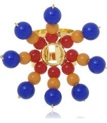anel le diamond flor de resinas colors azul - tricae
