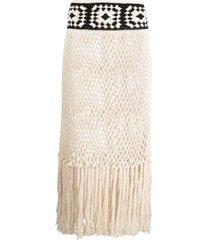 alanui fringed mesh skirt - neutrals