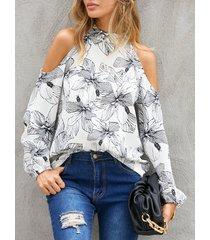 camicetta casual a maniche lunghe con spalle scoperte stampa calico da donna